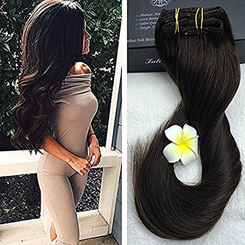 Full Shine 120g 18 Clip in Hair Extensions Clip Hétéro Thick Ins Hair Extensions Double Wefted Human Hair Extensions 50cm 9Pcs #2 Darkest Brown
