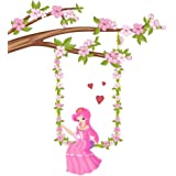 Wallstick Tree with Flower Girl wallstickers (Vinyl 100 cm x 90 cm)