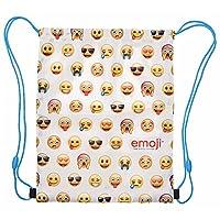PERLETTI Emoji Drawstring Sac for Boys and Girls - Swim Gym Bag Waterproof Kids - Training Shoe Bag ideal for travel and sport - White - 39x31 cm
