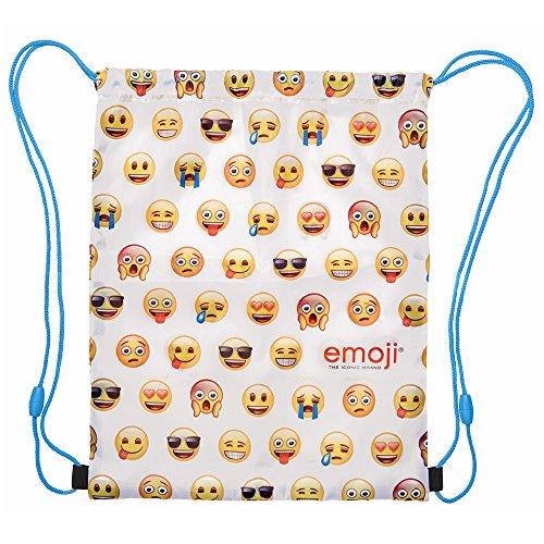 PERLETTI Schuhtaschen für Junge und Mädchen Emoji - Schuhbeutel undurchlässig mit Emoticons - Sportsack ideal für Reisen - Weiß - 39x31 cm