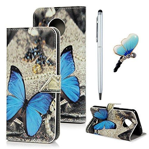 Edauto Motorola Moto G6 Hülle Leder Flipcase Bookstyle Stoßdämpfend Tasche Schutzhülle Schale Handyhülle Ständer Wallet Handyschale Magnetische Kartenfach Lederhülle Klapphülle Schmetterling