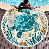 LIUNIAN Ocean World Beach Towel Microfiber Toallas de Playa Redondas Grandes 150 cm x 150 cm