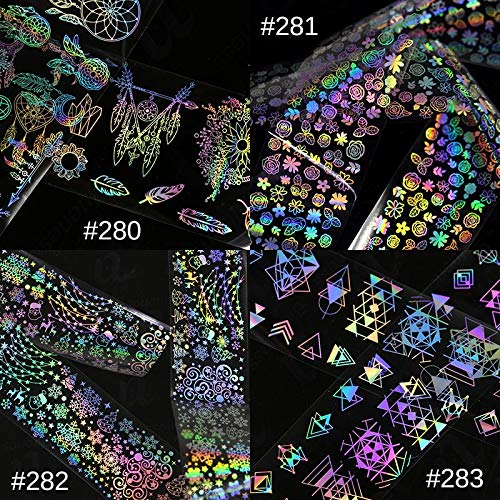 AZJTZ100 * 4 cm 1 unid Holográfica Lámina de uñas Flor láser Atrapasueños Geometría Patrones Mixtos Galaxy Manicura Nail Art Transfer Sticker281
