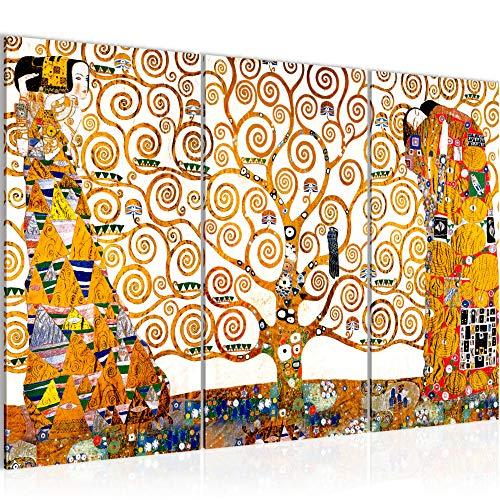 Tableau decoration murale Gustav Klimt - Tree of Life 120 x 80 cm XXL Impression sur Toile Salon Appartment Blanc 3 Parties - prêt à accrocher 700031a