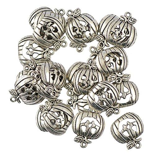 LUOEM 50 Stück Kürbis Maske Perlen Anhänger Charms Lächelngesicht förmigen Kürbis Schmuck DIY Erkenntnisse Antik Silber (50 Diy Halloween Kostüme)