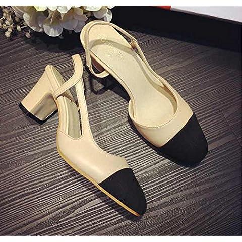 GS~LY Color de la plantilla color tacones gruesos tacones de los zapatos del encanto , apricot , 37
