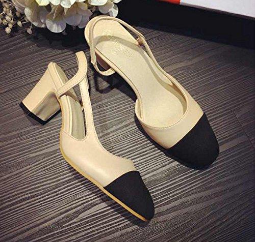 GS~LY Incantesimo di scarpe tacchi chunky tacchi di colore colore dello stampino Silver