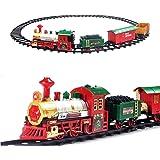 deAO Tren Clásico Infantil con Luces y Sonidos Conjunto Navideño de Vías, Locomotora y 3 Vagones Tren de Juguete Electrónico