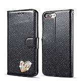 QLTYPRI iPhone 5 5S SE Hülle, Glitzer Handyhülle PU Ledertasche TPU Etui Handschlaufe Kartenfach mit Eingelegten Liebe Herz Diamond Flip Schutzhülle für iPhone 5 5S SE - Schwarz