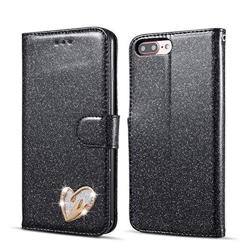 QLTYPRI Glitter Flip Case for iPhone 5 5S SE, Premium PU Leather TPU Cover with Cute Inlaid Loving Heart Diamond Design [Wrist Strap] [Magnetic Closure] [Card Slot] Stand Function Shockproof Bling Smooth Slim Wallet Case for iPhone 5/5S/SE - Black