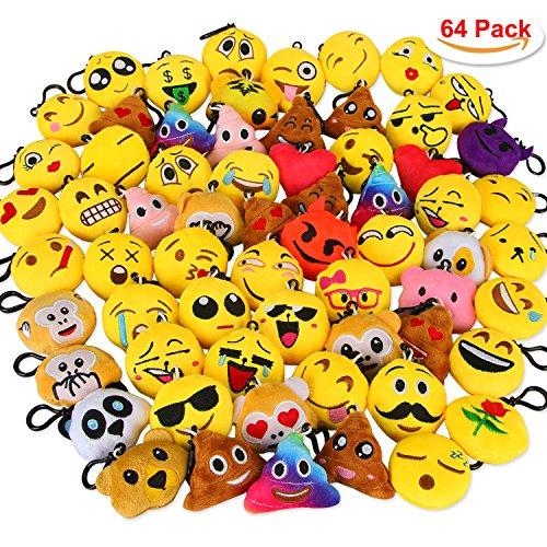 Plüsch Schlüsselanhänger Aiduy Emoji Schlüsselring Schlüssel Tasche Anhänger Party Favors für Kinder Set von 64