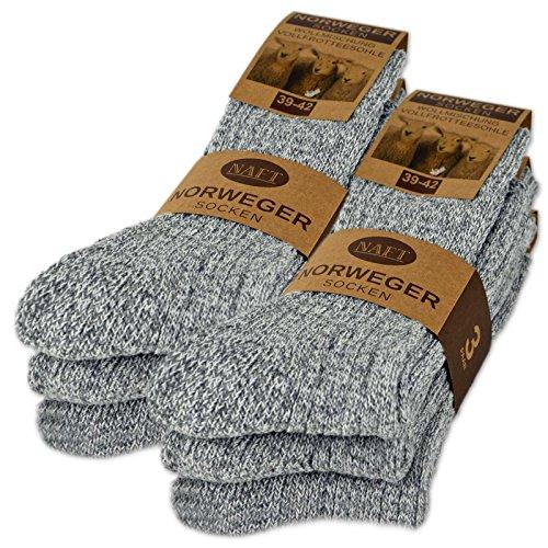 6 Paar Norweger Socken mit Wolle in Grau oder Anthrazit Herrensocken - AD220 (43-46, 6 Paar | Grau)
