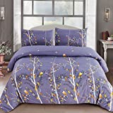 LA MEJOR Queen Size Duvet Cover Sets Singing Birds And Fragrant Flowers Design Hotel Quality Brushed Microfiber?1 Duvet Cover+2 Pillowcases)