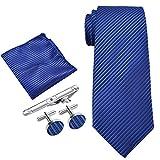 Coxeer Hombres 5 en 1 Consejo corbata elegante del clip de la mancuerna pañuelo y pañuelo conjunto de Paisley púrpura (Royal Blue)