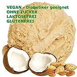 Kokos Mandel Geschmack Eispulver VEGAN - OHNE ZUCKER - LAKTOSEFREI - GLUTENFREI - FETTARM, auch für Diabetiker Milcheis Softeispulver Speiseeispulver Gino Gelati (Kokos Mandel, 1 kg)