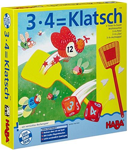 HABA 4538 - 3X4=Klatsch, lustiges Lernspiel für 2-6 Spieler ab 8 Jahren, Konzentrationsspiel zum spielerischen Trainieren des kleinen Einmaleins -