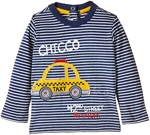 Chicco TEE-SHIRT ML-Polo Bimbo,    Multicolore (Blanc/Bleu) 18 mesi