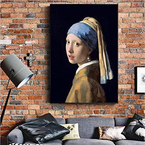 Djkaa Das Mädchen Mit Einer Perle Ohrring Berühmte Wandgemälde Klassische Porträtkunst Leinwand Home Decor