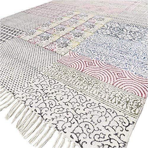 Eyes of India - Bunt Weiße Baumwolle Blockdruck Bereich Akzent Übertrocknet Dhurrie Teppich Hand Geflochten Flach zu Weben Boho Chic Indische Böhmisch - Multi, 4 X 6 ft. (120 X 180 cm)