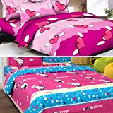 Sky Tex Super Saver Combo Of 2 Cotton Double Bed Pink Beauties With 4 Pillow Covers