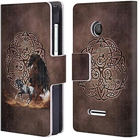 Ufficiale Brigid Ashwood Cavallo Saggezza Celtica Cover a portafoglio in pelle per Microsoft Lumia 435 / Dual SIM - Tessuto Cavallo