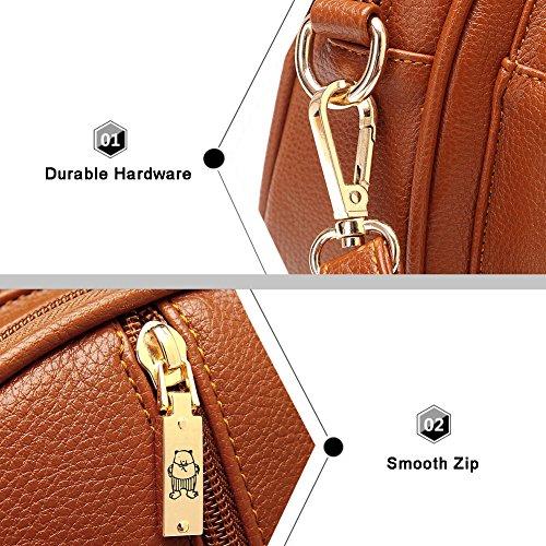 Yoome Retro Lichee Muster Kleine Shell Tasche Mini Schultertasche Leder Vintage Taschen für Frauen - Creme Khaki