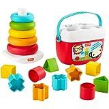 Fisher-Price- Eco Set Piramide 5 Anelli e Blocchi Assortiti, per Lo Sviluppo Giocattolo per Bambini 6+Mesi, GRF11