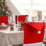 Dioxide 4 Piezas de Fundas para sillas con Gorro de Papá Noel, Funda Trasera de Silla con temática navideña, decoración de Me