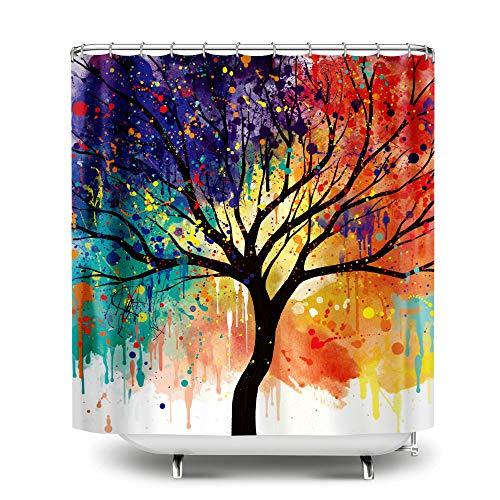 WIRESTER Duschvorhang für Badezimmer, 183 x 183 cm Paint Splash Tree - Primos E-predator Call