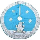 21 pulgadas de azul y de plata de la falda del árbol de Navidad con muñeco de nieve 3D y decoración del copo de nieve