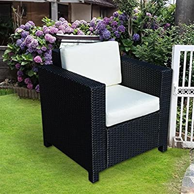 Single Sofa Chair W/ Aluminium Frame-Black - This luxury Rattan furniture set designed with ease in mind, with double chair square sided design with two footstools.