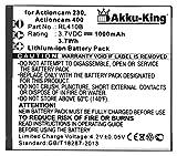 Akku-King Akku ersetzt Rollei RL410B - Li-Ion 1000mAh - für Actioncam 230, 240, 400, 410, Maginon AC-800W