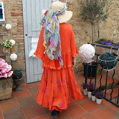 Talia Benson -Coklico - Tunique lin grande taille - blanc / orange - 44 46 48 Orange