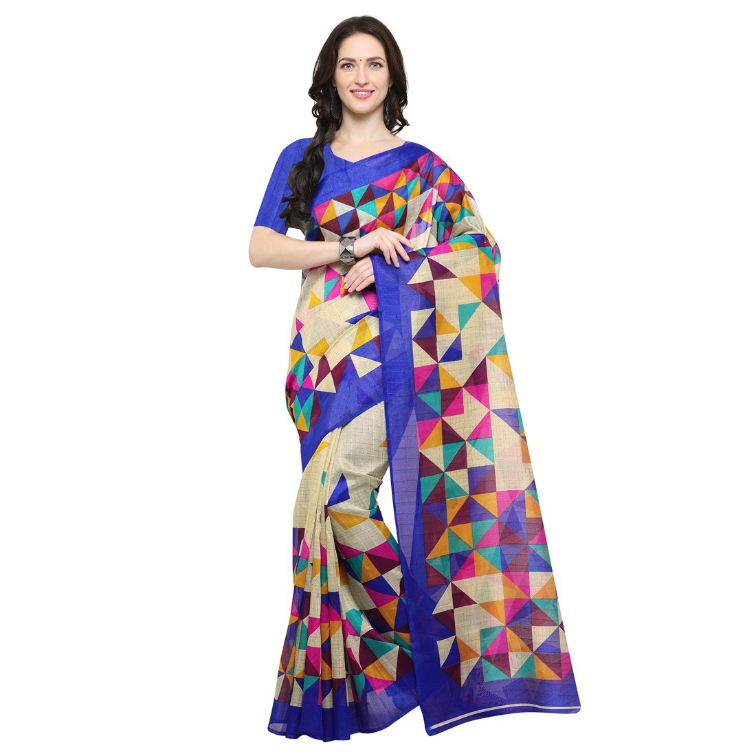 KANCHNAR Cotton Silk Saree With Blouse Piece(263S7_Multi-Coloured Free Size)