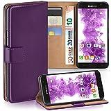 moex Samsung Galaxy S7 | Hülle Lila mit Karten-Fach 360° Book Klapp-Hülle Handytasche Kunst-Leder Handyhülle für Samsung Galaxy S7 Case Flip Cover Schutzhülle Tasche