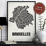 Brüssel Bruxelles Buchstabenort Schwarz auf Naturweiß