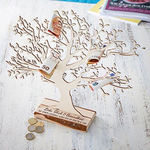 """Geldbaum aus Holz mit Gravur – Personalisiert mit [NAMEN]– Aufschrift """"Liebe, Glück und Gesundheit"""" – Foto-Baum – Geld-Geschenke Verpackung zur Geburt oder Taufe – 29 cm hoch – Groß Glück, Geld, Baum"""