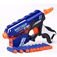 Vikas gift gallery Blaze Storm Manual Soft Bullet Shooting Gun Toy with 10 Safe Foam Bullet for Kids (Multicolour)