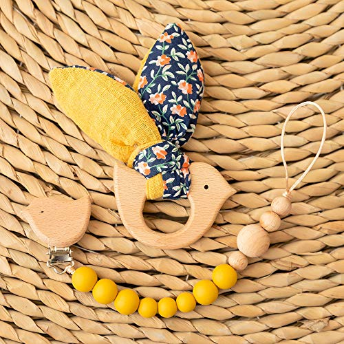 let\'s make Baby Schnuller Clips BPA-freie Silikonperle Bunny Ear Holzspielzeug Vogelform Baby Dusche Geschenk