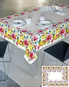 140x220 cm creme 100% Baumwolle Tischdecke Tischtuch ornamente Form Lotus Effekt fleckenabweisend pflegeleicht praktisch Blumenmuster Blumenmotive Modern Folk Ostern Frühling Sunny