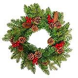 FROADP Weihnachtskranz Türkranz mit Künstliche Roten Beeren und Tannenzapfen Weihnachtsdeko für drinnen und draußen zum Aufhängen an Türen Wänden & Treppen Hochzeitsdekoration(Ø45cm, Type A)
