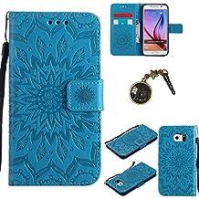 PU Galaxy S6 Motif Imprimé Étui Housse en Cuir Ultra-mince Fermeture Aimantée Housse de Protection Coque pour Samsung Galaxy S6 Étui Case Cover avec Stand Support (+Bouchons de poussière) (2FF)