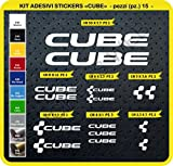 Code 0094- Cube selbstklebend Fahrrad Aufkleber-Kit, 15Aufkleber, Auswahl von Farben - Bianco cod. 010