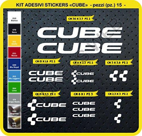 Preisvergleich Produktbild Code 0094- Cube selbstklebend Fahrrad Aufkleber-Kit,  15 Aufkleber,  Auswahl von Farben - Bianco cod. 010