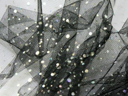 132,1cm breit Hologramm Pailletten Net Stoff, Meterware, Schwarz -