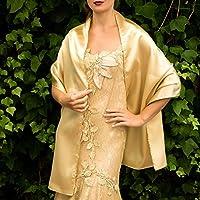 Chal saten color dorado oro novia boda
