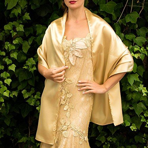 Chal satin color gold dorado oro novia boda