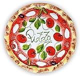 Lashuma handgemachter Pizzateller Tomate Mozzarella aus Italienischer Keramik, großer Teller rund ca. 33 cm
