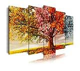 Dekoarte 404 - Quadro moderno su tela montato su telaio in legno di 5 pezzi XXL, albero della natura quattro stagioni, 200x100cm