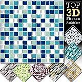 Grandora 4 Stück 25,3 x 25,3 cm blau türkis Silber Fliesenaufkleber Design 2 I 3D Mosaik Fliesenfolie Küche Bad Wandaufkleber Fliesensticker Fliesendekor W5423